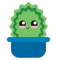 cute green cactus in pot on white background vector image vector image