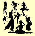 dancing action silhouette vector image vector image