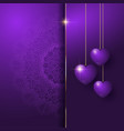 decorative valentines day background with hanging vector image