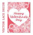 elegant card valentines day with flowers lace vector image vector image