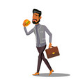 fast food going businessman eating hamburger vector image
