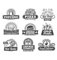 fast food meals pizza and snacks retro icons vector image vector image