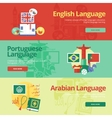 Flat banners for english portuguese arabian vector image vector image
