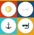 flat icon summer set of ship hook deck chair vector image vector image