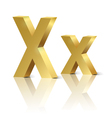 Golden letter X vector image vector image