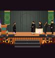 graduation girl at podium vector image vector image