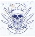 hand drawn sketch color skull vector image