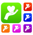 hand holding heart set color collection vector image vector image