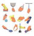 hands with cleaning tools and means cleaning and vector image vector image