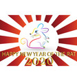 happy new year 2020 with chinese year rat vector image vector image