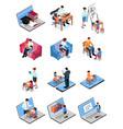 isometric family homeschooling set vector image vector image