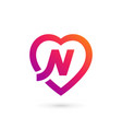 letter n heart logo icon design template elements vector image vector image