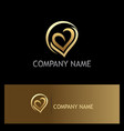 love heart abstract gold logo vector image vector image