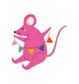 lovely pink mouse sitting with party flags cute vector image