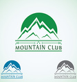 Mountains vintage logo design template green vector image