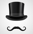 moustaches and stovepipe hat magician vector image vector image