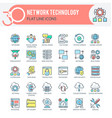 network icons set filled outline multicolor vector image vector image