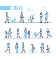 people - set line design style characters vector image