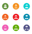 personalization icons set flat style vector image vector image