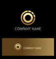 round gold ring target logo vector image vector image