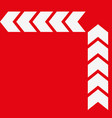 set of white arrows on red background vector image vector image