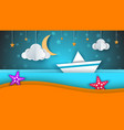 ship paper landscape sea cloud star cartoon vector image