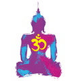 Silhouette of a Buddha and Om symbol vector image