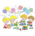 small children playing colorful soft toys vector image