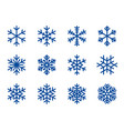 snowflake winter set of blue isolated icon vector image