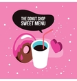 Sweet menu Delicious dessert chocolate donut syrup vector image