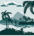 tropical landscape view from shore with palm vector image vector image