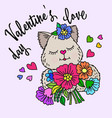 valentines day love inscription and cat vector image vector image