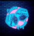 vintage casino emblem glowing neon vector image vector image