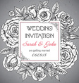 Vintage elegant wedding invitation with graphic vector image