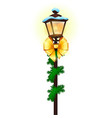 vintage street lamp decorated with golden ribbon vector image