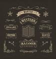 western hand drawn banners vintage badge vector image vector image