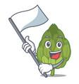 with flag artichoke mascot cartoon style vector image vector image