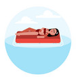woman on inflatable mattress vector image vector image