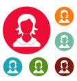 woman user icons circle set vector image vector image