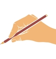writing hand with pencil vector image vector image