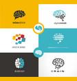 brain logo designs set artificial intelligence ai vector image
