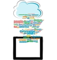 communicator with social network word cloud with vector image