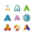 Letter A logo set Color icon templates design vector image