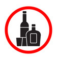 alcohol bottles black silhouette sign isolated on vector image