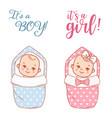 bashower design newborn bagirl and boy on vector image vector image