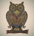 beautiful decorative owl with a lot of de vector image