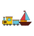 boat train kid toys vector image