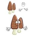 Brown morel mushroom cartoon character vector image vector image