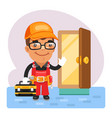 cartoon locksmith opened door vector image