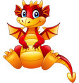 cartoon red dragon sitting isolated on white backg vector image
